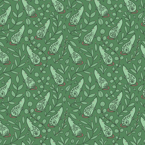 Adorable floral green rat with leaves. Green background.
