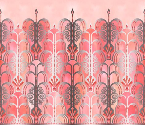 Art Deco peach 1 large scale fabric by pearlposition on Spoonflower - custom fabric