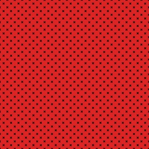 Black x crosses on red