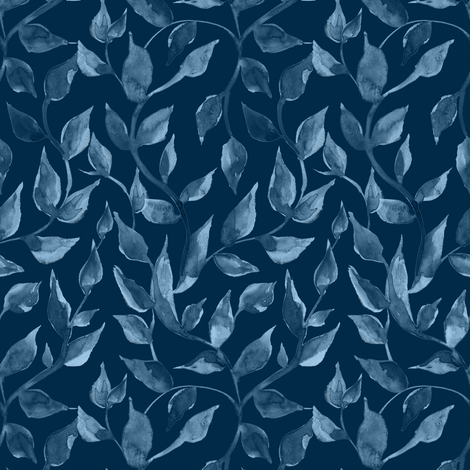 blue watercolor leaves, summer design. fabric by kostolom3000 on Spoonflower - custom fabric
