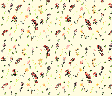 Yellow Roses  fabric by pattesdemouche on Spoonflower - custom fabric