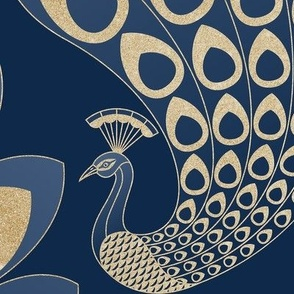 Blue and Gold Art Deco Peacock - Large