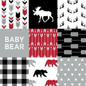 Red/Black/Grey - Woodland patchwork - baby bear C18BS
