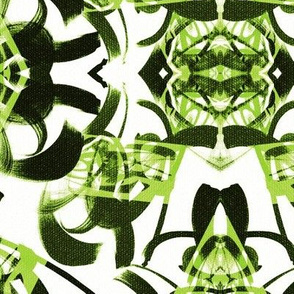 Green and white large Tokyo fabric