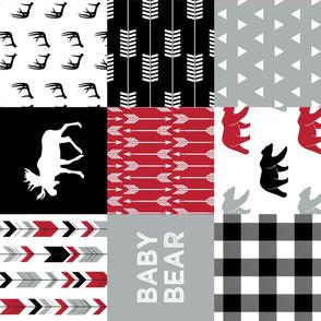 Red/Black/Grey - Woodland patchwork - baby bear C18BS (90)