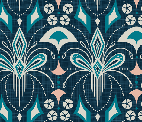 Gatsby - Blue Extra Large Scale fabric by heatherdutton on Spoonflower - custom fabric