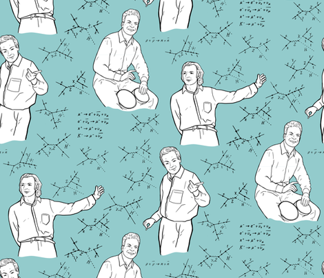 Large Scale Richard Feynman on Light Blue fabric by landpenguin on Spoonflower - custom fabric