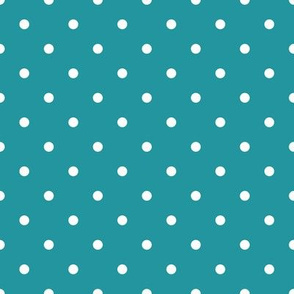 polka dots dark teal background