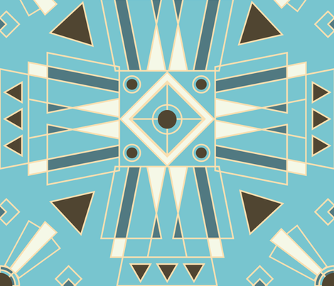Art Deco Teal fabric by eastcoastcharm on Spoonflower - custom fabric