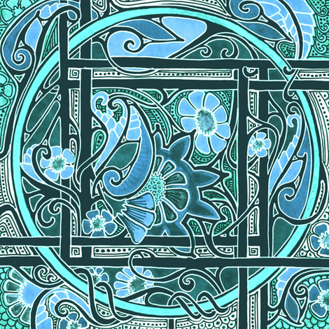 Blooming Teal Boxes fabric by edsel2084 on Spoonflower - custom fabric