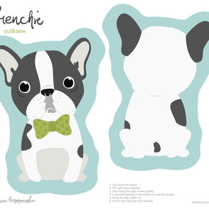 Frenchie - boy with green bow tie cut and sew plushie