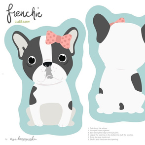 Frenchie - girl with pink bow cut and sew plushie