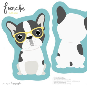 Frenchie - girl with yellow glasses cut and sew plushie