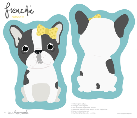 Frenchie - girl with yellow bow cut and sew plushie fabric by ewa_brzozowska on Spoonflower - custom fabric