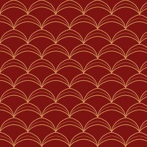 Scallop Scale Jerkin Pattern - Yellow Gold on Maroon