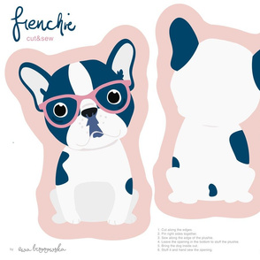 Frenchie - girl with pink glasses cut and sew plushie