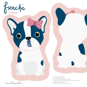 Frenchie - navy girl with pink bow cut and sew plushie