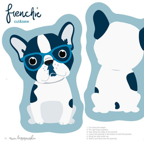Frenchie - navy boy with blue glasses cut and sew plushie