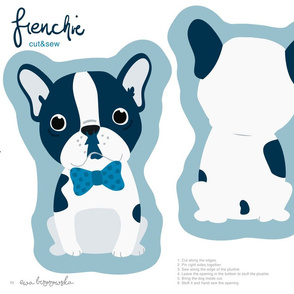 Frenchie - navy boy with blue bow tie cut and sew plushie