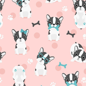 Frenchie - BIG - grey on pink with mint