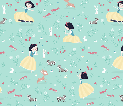 Snow White - BIG - mint princess with animals in forest fabric by ewa_brzozowska on Spoonflower - custom fabric