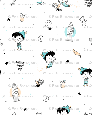 Peter Pan - Never grow up - scandinavian minimalist pattern