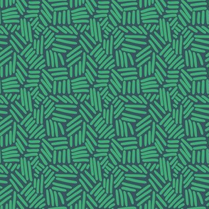 Crosshatch -  Green on Teal