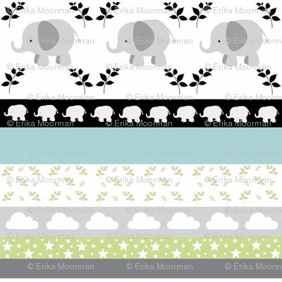 Gray Elephant YaYa quilt gray blue mist