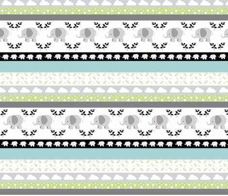 Gray Elephant YaYa quilt gray blue mist fabric by drapestudio on Spoonflower - custom fabric