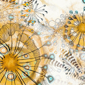 Art Nouveau style watercolor in yellow mustard with aqua turquoise blue Ethereal