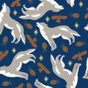 Howling Wolf Navy Blue Random