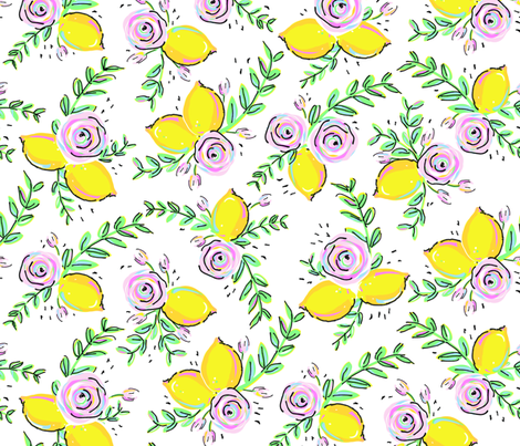 Lemon Rose Large fabric by sweetspooldesigns on Spoonflower - custom fabric