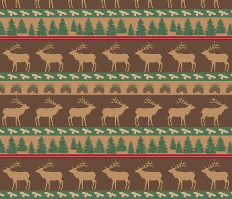 Elk March Tan Brown Green fabric by phyllisdobbs on Spoonflower - custom fabric