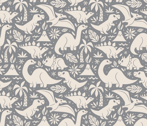 Delightful Dinos (Gray) fabric by therewillbecute on Spoonflower - custom fabric