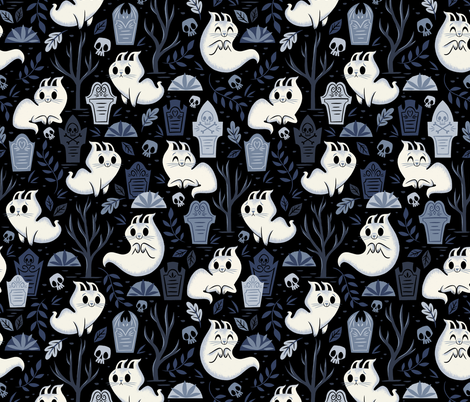 Ghost Kitties fabric by therewillbecute on Spoonflower - custom fabric