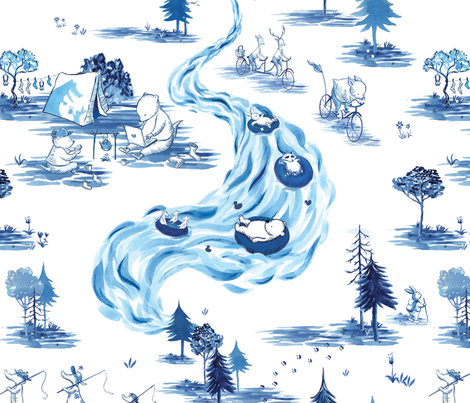 Toile - Blue fabric by akemi_ki on Spoonflower - custom fabric