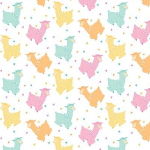 Alpacas on White - Pastel Rainbow Llamas