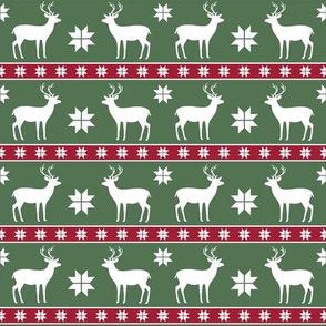 Christmas Nordic Deer Green Small