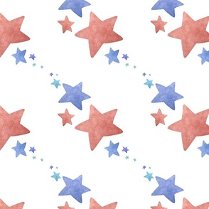 Faded stars blue and red