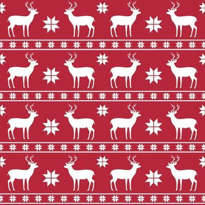 Christmas Nordic Deer Red Small