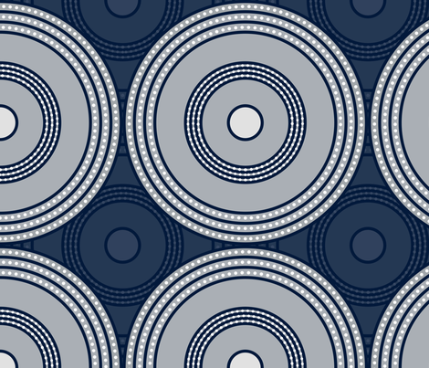 Deco Circles - Navy, Grey & White fabric by ameliae on Spoonflower - custom fabric