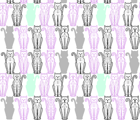 Cat Deco Lavender and Mint fabric by dreamoutloudart on Spoonflower - custom fabric