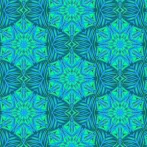 Rippling Echoes of Art Deco on Pretty Teal - Small Scale
