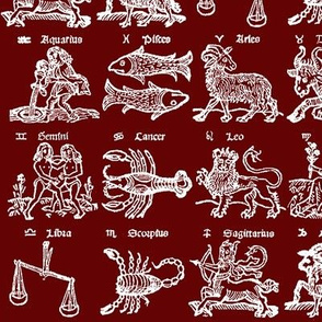 Woodcut Zodiac // Burgundy // Small