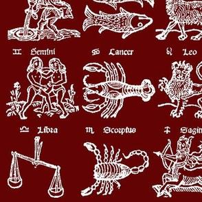 Woodcut Zodiac // Burgundy