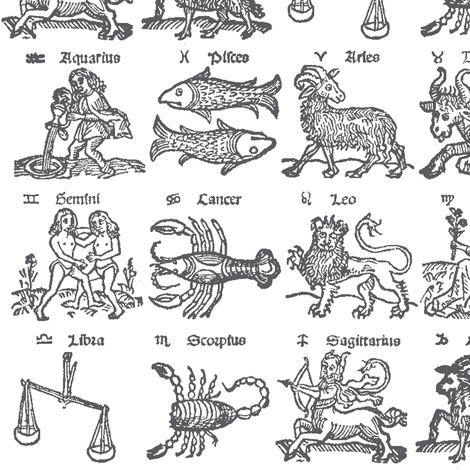 Grey Woodcut Zodiac // Small fabric by thinlinetextiles on Spoonflower - custom fabric