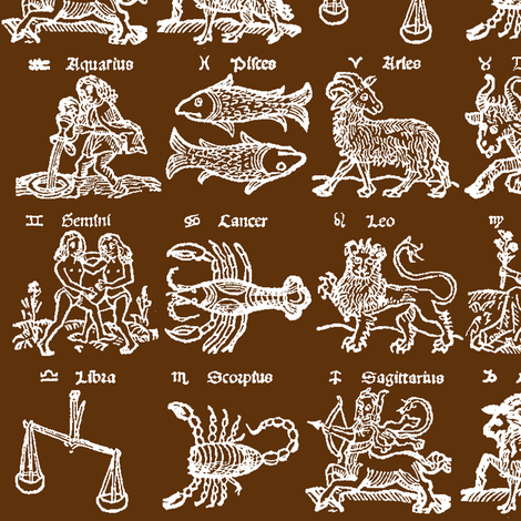 Woodcut Zodiac // Mocha // Small fabric by thinlinetextiles on Spoonflower - custom fabric
