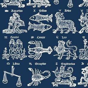 Woodcut Zodiac // Navy // Small