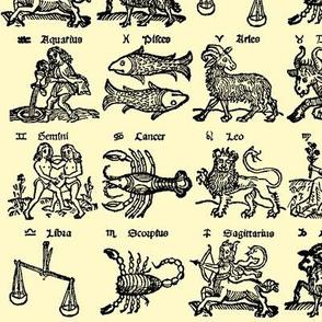 Woodcut Zodiac // Parchment // Small