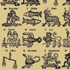 Woodcut Zodiac // Tan // Small